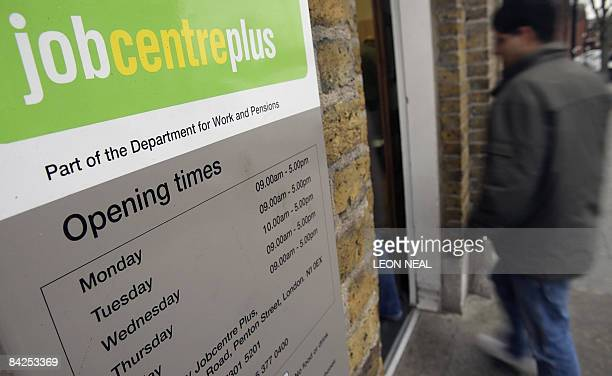 A man enters a Job Centre in north London on January 12 2009 British Prime Minister Gordon Brown will unveil a 500millionpound plan Monday to help...