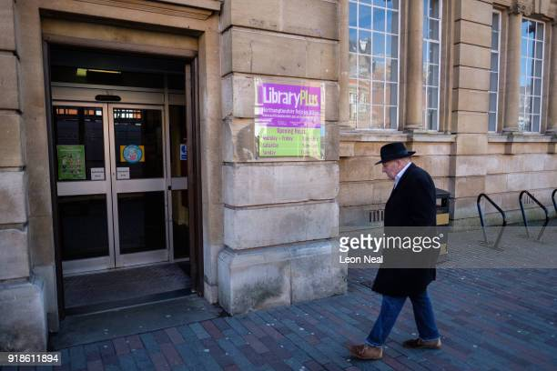 A man enters the central library in the town centre on February 15 2018 in Northampton United Kingdom Northamptonshire County Council has banned all...
