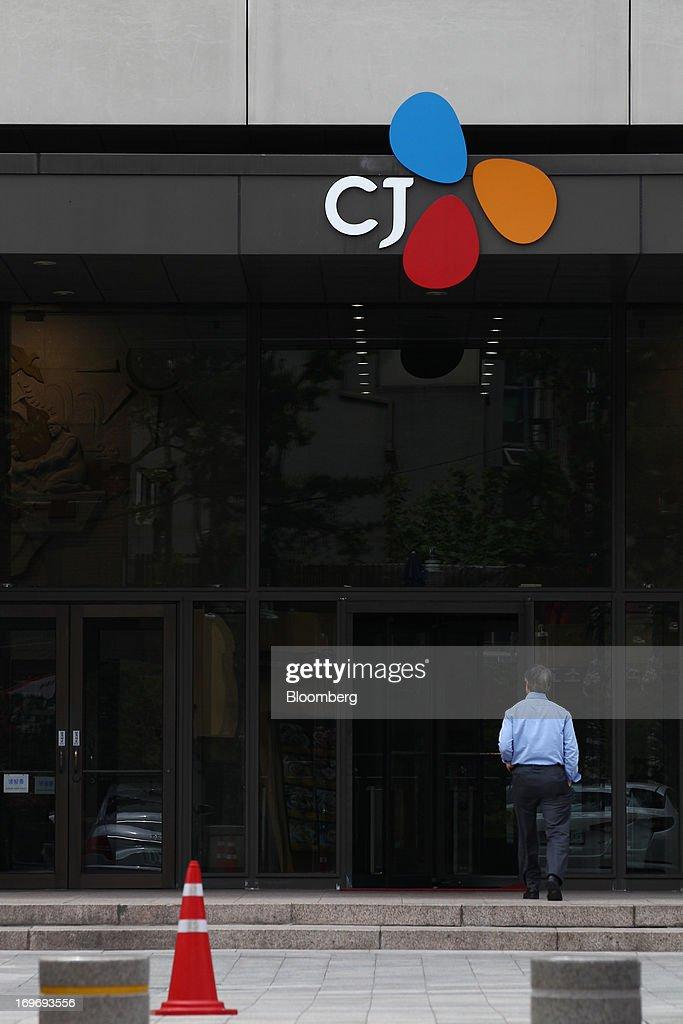 A man enters the CJ Group headquarters in Seoul, South Korea
