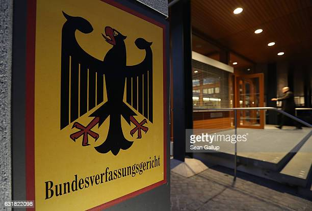 Man enters the German Federal Constitutional Court on January 16, 2017 in Karlsruhe, Germany. The Constitutional Court is scheduled to announce its...