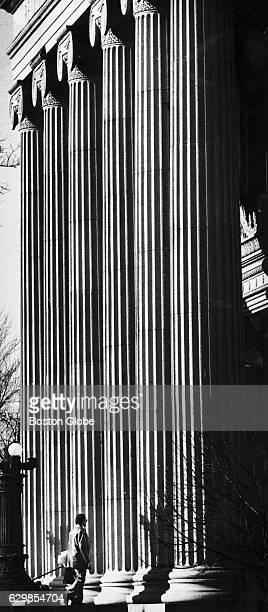 A man enters the Registry of Deeds probate court in Salem Mass on Dec 4 1981