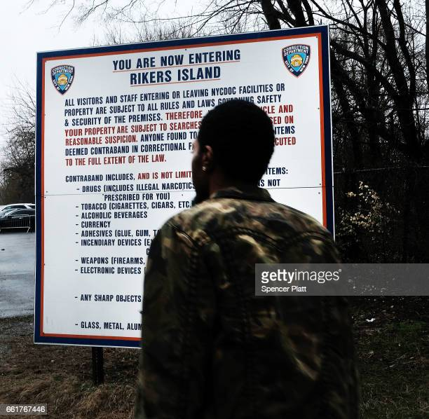 A man enters the road to Rikers Island on March 31 2017 in New York City New York Mayor Bill de Blasio has said that he agrees with the fundamentals...