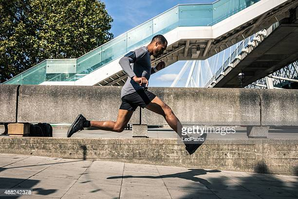 Man exercising in the city