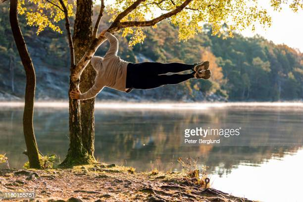 man exercising outdoors - military exercise stock pictures, royalty-free photos & images