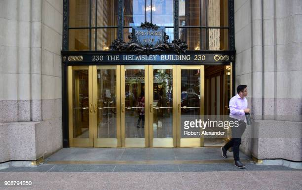 A man exits the Helmsley Building on Park Avenue in New York City The Midtown Manhattan skyscraper was built in 1929 when it was known as the New...
