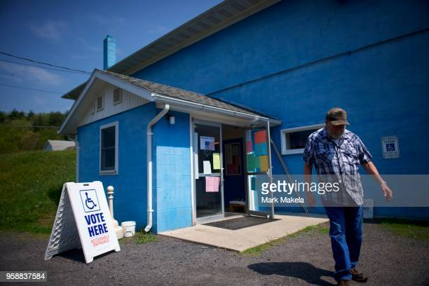 A man exits the Sylvania Masonic Hall polling station during the 2018 Pennsylvania Primary Election on May 15 2018 in Shickshinny Pennsylvania In the...