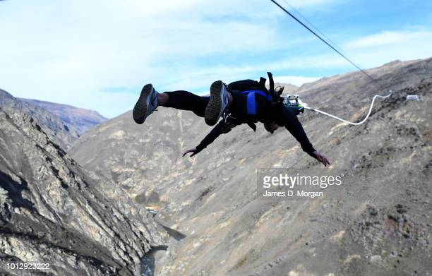 A man experiences the world's first human catapult at the unveiling of the new Nevis Catapult on August 8 2018 in Queenstown New Zealand AJ Hackett...