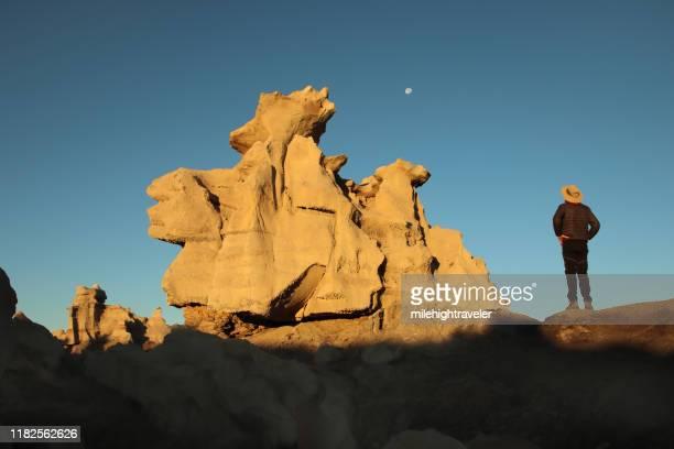 man explores eroded cretaceous sandstone hoodoos bisti de-na-zin wilderness new mexico - milehightraveler stock pictures, royalty-free photos & images