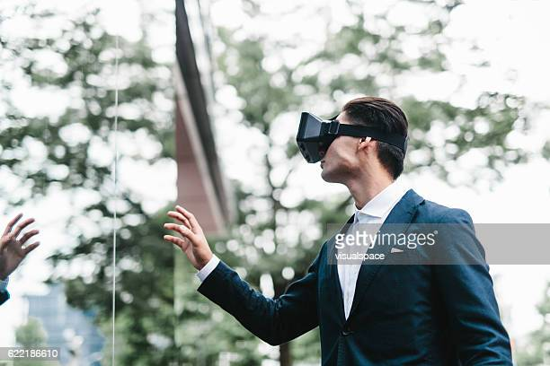 Man Exploring a Virtual Reality