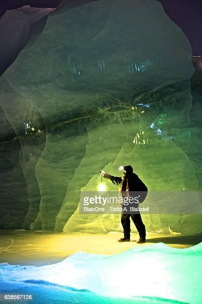 Man Exploring Sheridan Glacier
