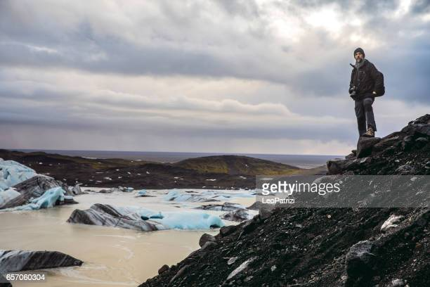 Man exploring the wild area and remote places in Iceland