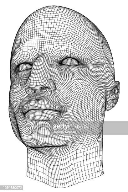 man face in wireframe lines isolated on white - wire frame model stock pictures, royalty-free photos & images