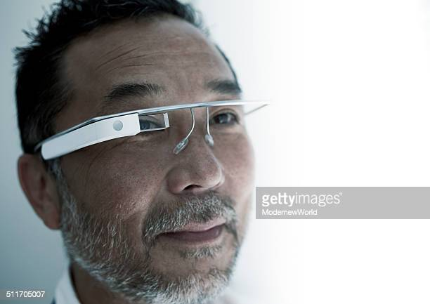 man facing with wearable computer