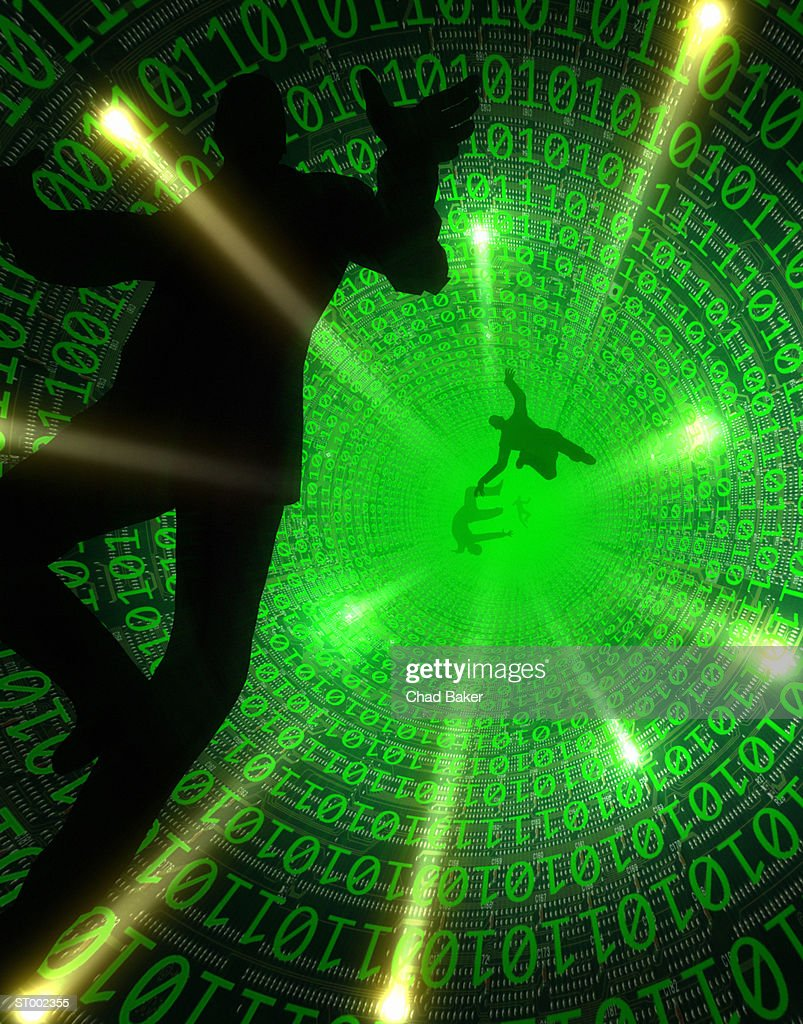 Man Falling into a Binary Number Hole : Stock Photo