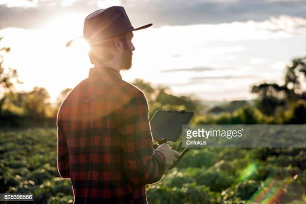 Man boer Pilot met behulp van de afstandsbediening Drone bij zonsondergang