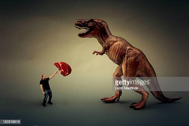 Man feeding dinosaur