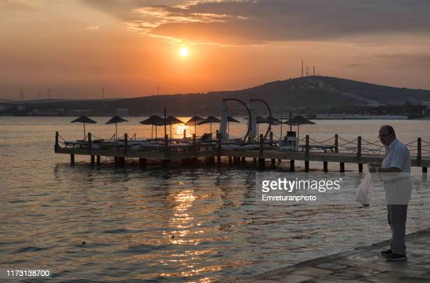 man feeding fish at dawn,cesme. - emreturanphoto stock pictures, royalty-free photos & images