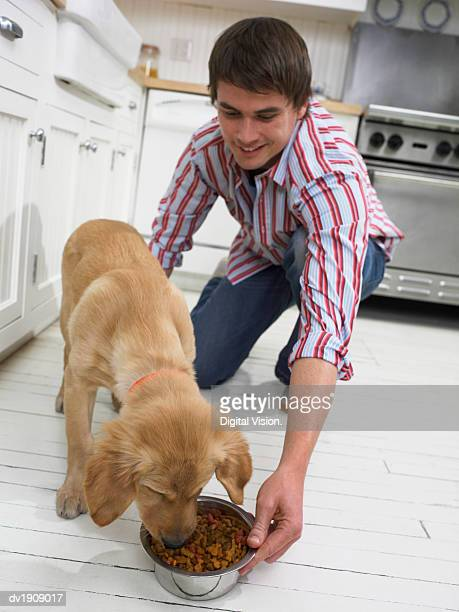 Man Feeding His Dog in a Kitchen