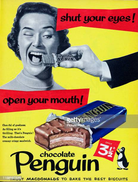 A man feeds a woman a Macdonalds Penguin chocolate bar with the caption 'Shut your eyes Open your mouth' Original Publication Picture Post Ad Vol 73...