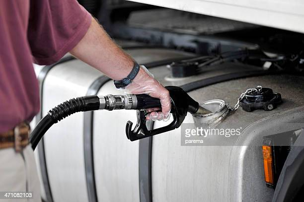 Man filling up the gas tank with gasoline