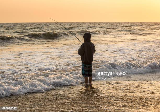 A man fishes in the surf at Gaviota State Park beach on December 18 near Santa Barbara California Because of its close proximity to Southern...