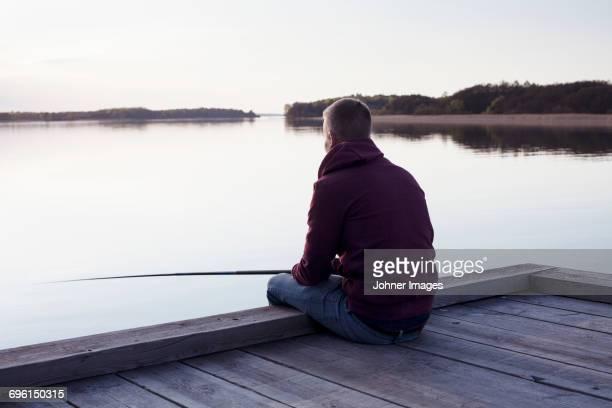 Man fishing at lake