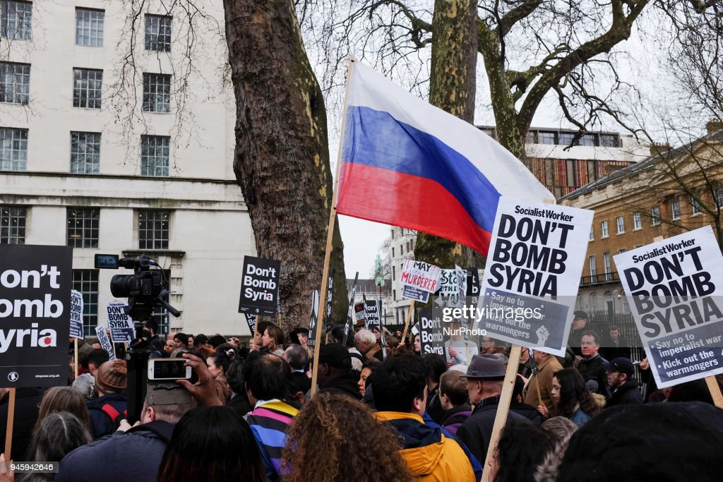 Stop The War Demonstrators Protest Against UK Military Involvement In Syria : News Photo