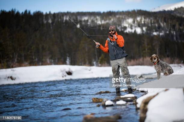 a man fly fishing a scenic river on a winter day. - bozeman stock pictures, royalty-free photos & images