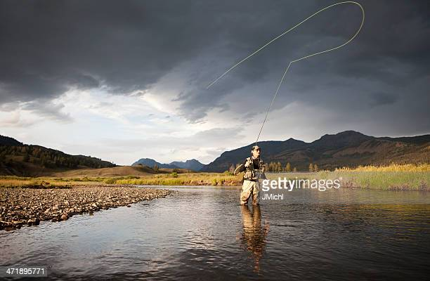 man fly fishing knee deep in water - fly casting stock pictures, royalty-free photos & images