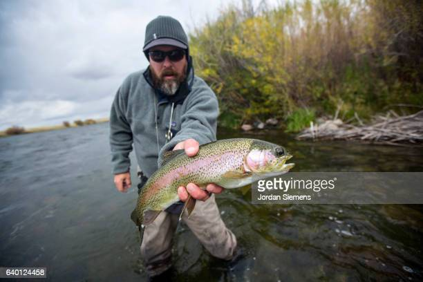 A man fly fishing on a river.