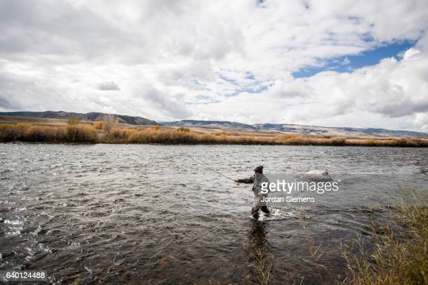 a man fly fishing on a river. - wading stock pictures, royalty-free photos & images