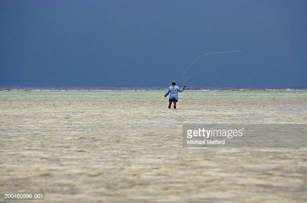 Man flyfishing for bonefish in flats (rear view)