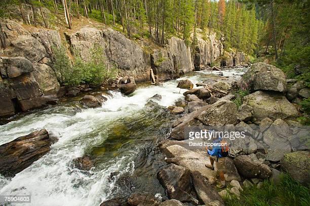 man fly-fishing in rapid mountain river, elevated view - stroomversnelling stockfoto's en -beelden