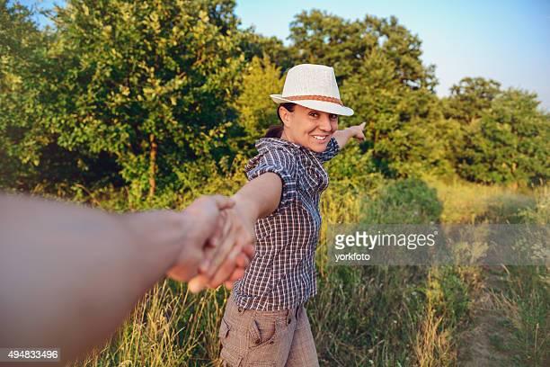 man following a young girl