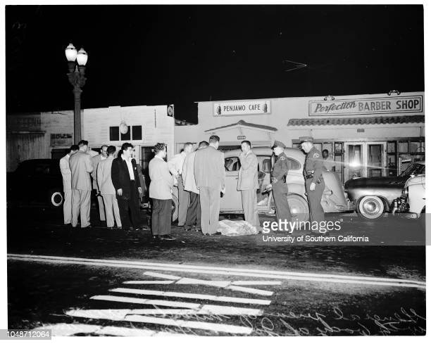 Man found murdered in auto 21 June 1954 Joseph Hinojosa victimFred Fox Mary Acuna Caption slip reads 'Photographer Wyman Date1954621 Reporter West...