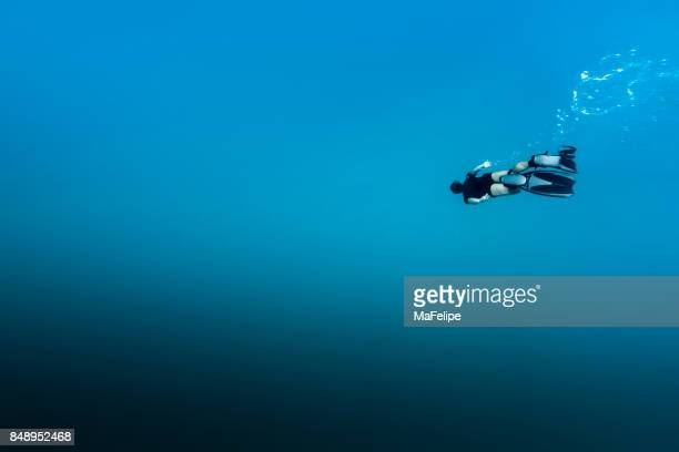 man free diving in fernando de noronha - diving into water stock photos and pictures