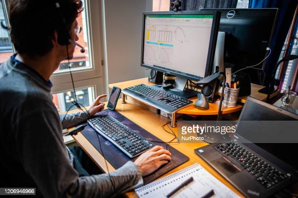 A man from a company based in North Brabant is working from home during the Coronavirus crisis in The Netherlands on March 13th 2020