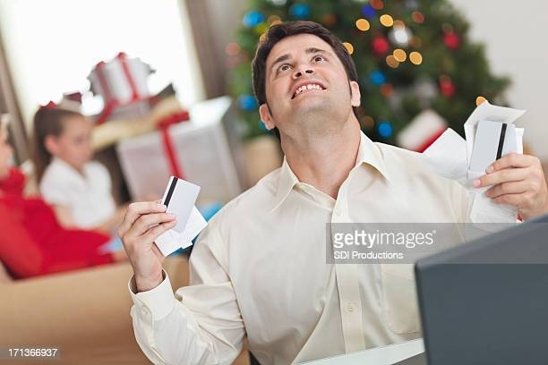 Man frustrated with his family's Christmas bills and debt