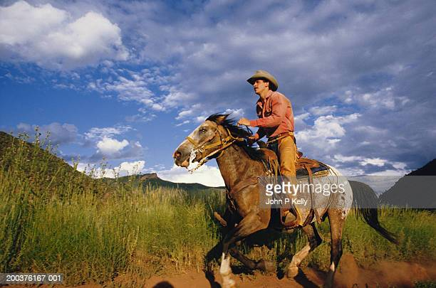 man galloping appaloosa horse, side view - appaloosa stock pictures, royalty-free photos & images