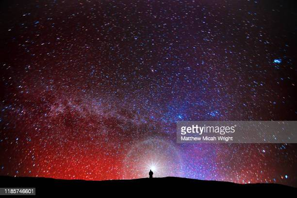 a man gazes into the starry desert sky. - constellation stock pictures, royalty-free photos & images