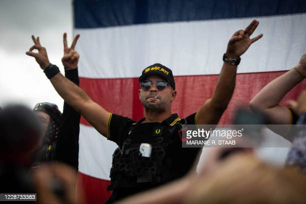 Man gestures the OK sign that is now seen as a symbol of white supremacy, as hundreds gathered during a Proud Boys rally at Delta Park in Portland,...