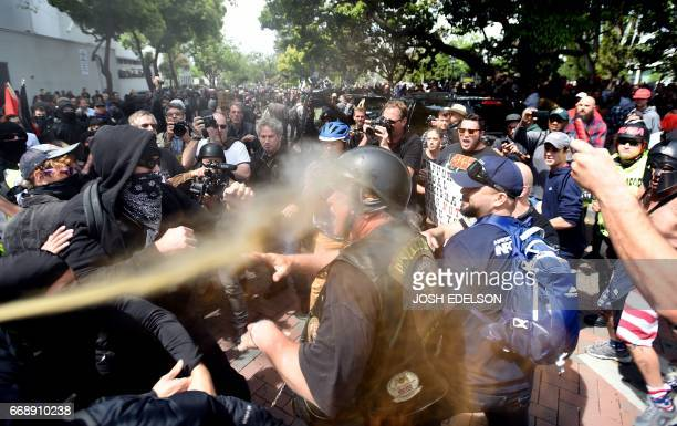 A man gets sprayed with a chemical irritant as multiple fights break out between Trump supporters and antiTrump protesters in Berkeley California on...