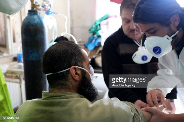 A man gets treatment at a hospital after a suspected chlorine gas attack by Assad Regime forces to Khan Shaykhun town of Idlib Syria on April 4 2017