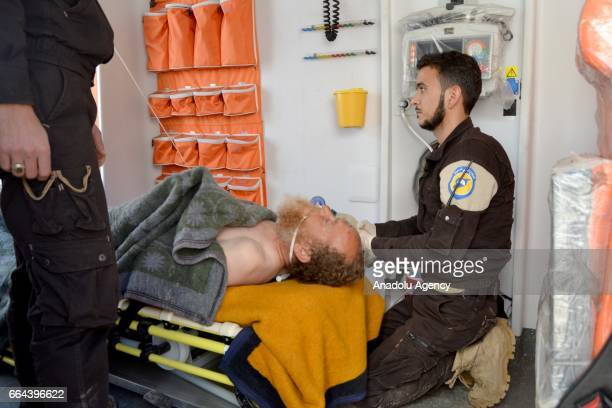 A man gets treatment at a hospital after Assad Regime forces attacked with suspected chlorine gas to Khan Shaykhun town of Idlib Syria on April 4 2017