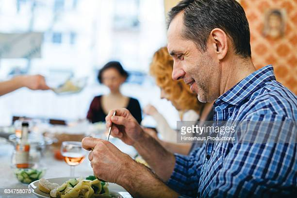 Man getting ready to enjoy meal