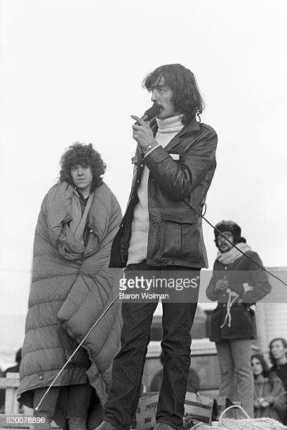 A man gives a speech at the Altamont Speedway Free Festival in Northern California held on Saturday December 6 1969