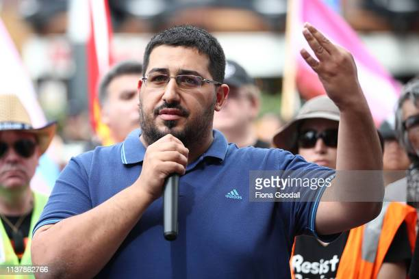 A man gives a speech during a march against racism at Aotea Square on March 24 2019 in Auckland New Zealand 50 people were killed and dozens were...