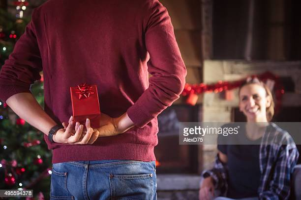 Man giving present to girlfriend