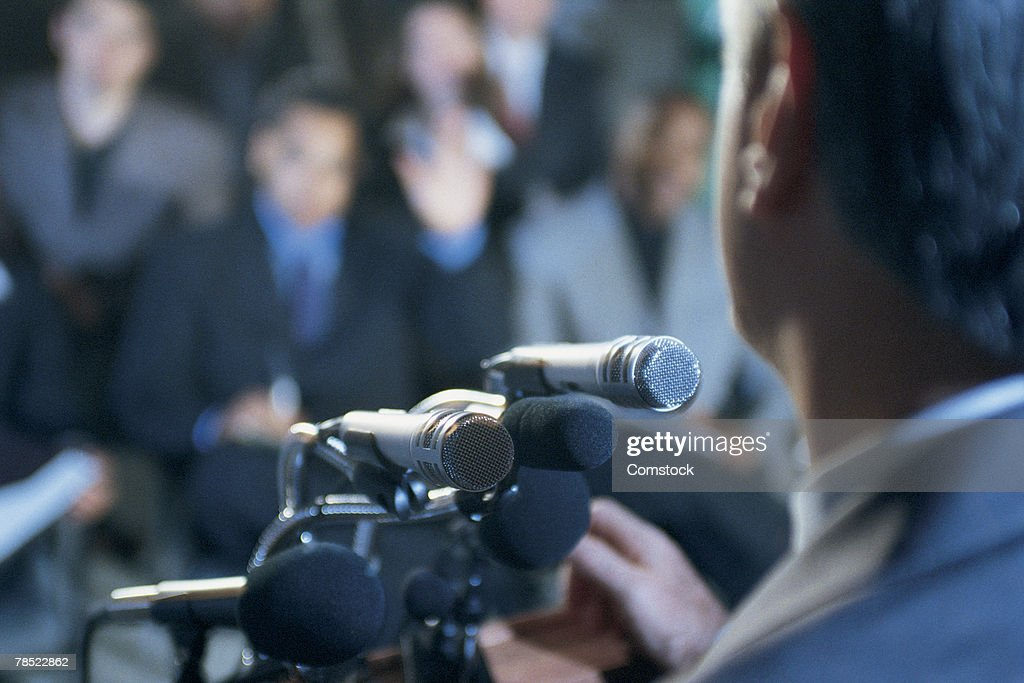 Man giving speech : Stock Photo