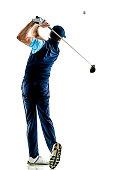 man golfer golfing isolated withe background